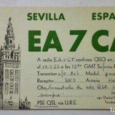 Radios antiguas: TARJETA RADIOAFICIONADO, EA-7-CA, SEVILLA, AÑOS 50. Lote 172538584