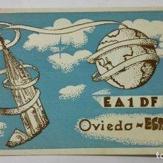 Radios antiguas: TARJETA RADIOAFICIONADO, EA-1-DF, OVIEDO, AÑOS 50. Lote 172539388