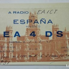 Radios antiguas: TARJETA RADIOAFICIONADO, EA-4-DS, MADRID, AÑOS 50. Lote 172541190