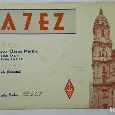 Radios antiguas: TARJETA RADIOAFICIONADO, EA-7-EZ, MALAGA, AÑOS 50. Lote 172548659