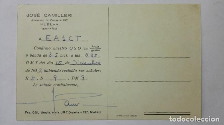 Radios antiguas: TARJETA RADIOAFICIONADO, EA-7-CQ, HUELVA, AÑOS 50 - Foto 2 - 172550202