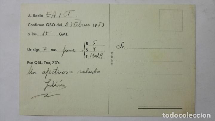 Radios antiguas: TARJETA RADIOAFICIONADO, EA-7-FG, SEVILLA, AÑOS 50 - Foto 2 - 172552557