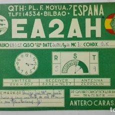 Radios antiguas: TARJETA RADIOAFICIONADO, EA-2-AH, BILBAO, AÑOS 50. Lote 172554382