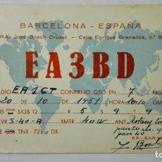 Radios antiguas: TARJETA RADIOAFICIONADO, EA-3-BD, BARCELONA, AÑOS 50. Lote 172554935