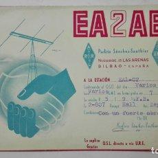 Radios antiguas: TARJETA RADIOAFICIONADO, EA-2-AB, BILBAO, AÑOS 50. Lote 172556150
