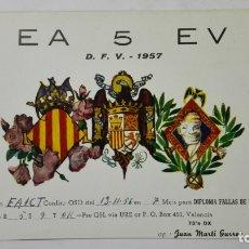 Radios antiguas: TARJETA RADIOAFICIONADO, EA-5-EV, VALENCIA, AÑOS 50. Lote 172556758