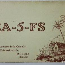 Radios antiguas: TARJETA RADIOAFICIONADO, EA-5-FS, MURCIA, AÑOS 50. Lote 172579668