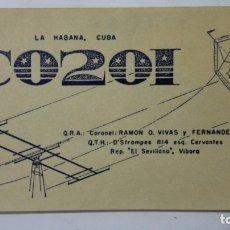 Radios antiguas: TARJETA RADIOAFICIONADO, CO-2-OI, LA HABANA - CUBA , AÑOS 50. Lote 172580458