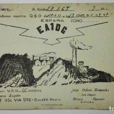 Radios antiguas: TARJETA RADIOAFICIONADO, EA-1-DG, OVIEDO, AÑOS 50. Lote 172580640