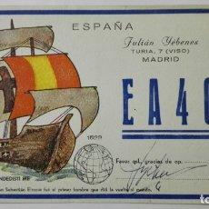 Radios antiguas: TARJETA RADIOAFICIONADO, EA-4-CL, MADRID, AÑOS 50. Lote 172700823