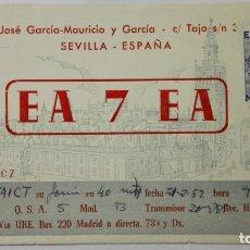 Radios antiguas: TARJETA RADIOAFICIONADO, EA-7-EA, SEVILLA, AÑOS 50. Lote 172700933