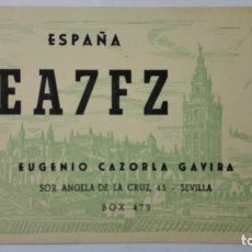Radios antiguas: TARJETA RADIOAFICIONADO, EA-7-FZ, SEVILLA, AÑOS 50. Lote 172701565