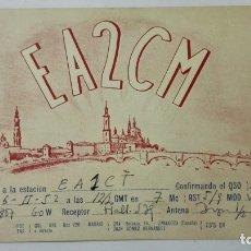 Radio antiche: TARJETA RADIOAFICIONADO, EA-2-CM, ZARAGOZA, AÑOS 50. Lote 214635917