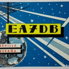 Radios antiguas: TARJETA RADIOAFICIONADO, EA-7-DB, SEVILLA, AÑOS 50. Lote 172703839