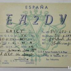 Radios antiguas: TARJETA RADIOAFICIONADO, EA-2-DV, SAN SEBASTIAN., AÑOS 50. Lote 172709652
