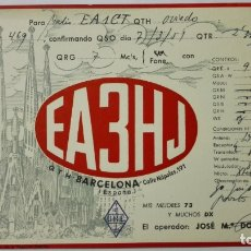 Radios antiguas: TARJETA RADIOAFICIONADO, EA-3-HJ, BARCELONA., AÑOS 50. Lote 172720792