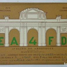 Radios antiguas: TARJETA RADIOAFICIONADO, EA-4-FD, MADRID., AÑOS 50. Lote 172721073