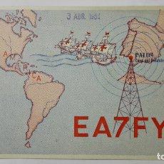 Radios antiguas: TARJETA RADIOAFICIONADO, EA-7-FY, PALOS DE LA FRONTERA - HUELVA., AÑOS 50. Lote 172721599