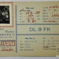Radios antiguas: TARJETA RADIOAFICIONADO, DL-9-FK, HAMBURG, AÑOS 50. Lote 172721819