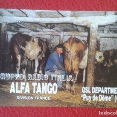 Radios antiguas: POSTAL POST CARD QSL RADIOAFICIONADOS RADIO AMATEUR FRANCE PUY DE DÔME COW COWS VACHE VACAS VACA VER. Lote 173652395
