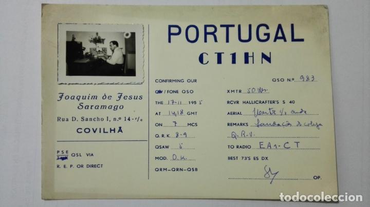 TARJETA RADIOAFICIONADO CT-1-HN, COVILHA - PORTUGAL . AÑOS 50. (Radios, Gramófonos, Grabadoras y Otros - Radioaficionados)