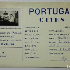 Radios antiguas: TARJETA RADIOAFICIONADO CT-1-HN, COVILHA - PORTUGAL . AÑOS 50.. Lote 173868152