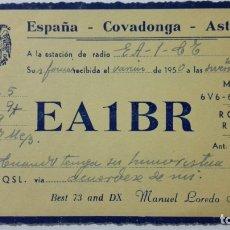 Radios antiguas: TARJETA RADIOAFICIONADO EA-5-BR, COVADONGA - ASTURIAS. AÑOS 50.. Lote 173869154