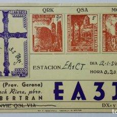Radios antiguas: TARJETA RADIOAFICIONADO EA-3-JD, VILABERTRAN - GERONA. AÑOS 50.. Lote 173869379