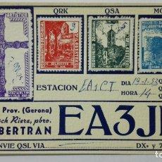 Radios antiguas: TARJETA RADIOAFICIONADO EA-3-JD, VILABERTRAN - GERONA. AÑOS 50.. Lote 173869484