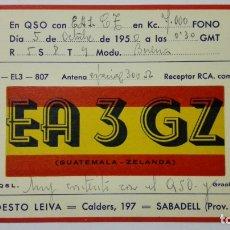 Radios antiguas: TARJETA RADIOAFICIONADO EA-3-GZ, SABADELL. AÑOS 50.. Lote 173870685