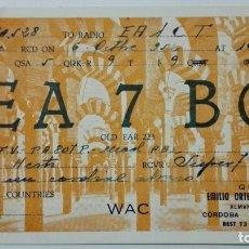 Radios antiguas: TARJETA RADIOAFICIONADO EA-7-BC, CORDOBA. AÑOS 50.. Lote 173871237