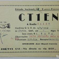Radios antiguas: TARJETA RADIOAFICIONADO CT-1-EN, PORTUGAL. AÑOS 50.. Lote 173871874