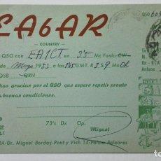 Radios antiguas: TARJETA RADIOAFICIONADO EA-6-AR, BALEARES. AÑOS 50.. Lote 173872037