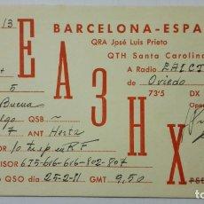 Radios antiguas: TARJETA RADIOAFICIONADO EA-3-HX, BARCELONA. AÑOS 50.. Lote 173872119