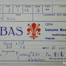 Radios antiguas: TARJETA RADIOAFICIONADO I1-B-AS, FIRENZE - ITALY. AÑOS 50.. Lote 173872429