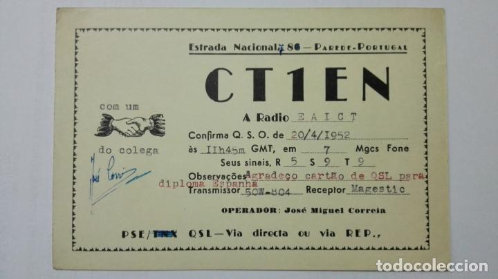TARJETA RADIOAFICIONADO CT-1-EN, PORTUGAL. AÑOS 50. (Radios, Gramófonos, Grabadoras y Otros - Radioaficionados)