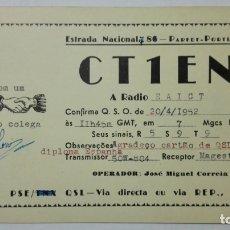 Radios antiguas: TARJETA RADIOAFICIONADO CT-1-EN, PORTUGAL. AÑOS 50.. Lote 173872635
