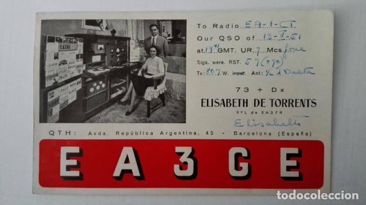 TARJETA RADIOAFICIONADO, EA-3-GE, BARCELONA. AÑOS 50 (Radios, Gramófonos, Grabadoras y Otros - Radioaficionados)