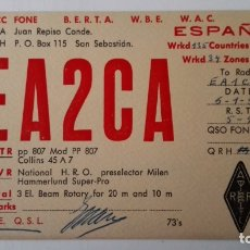 Radios antiguas: TARJETA RADIOAFICIONADO, EA-2-CA, SAN SEBASTIAN. AÑOS 50. Lote 174022597