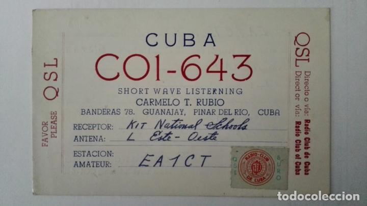 TARJETA RADIOAFICIONADO, CO1-643, PINAR DEL RIO, CUBA. AÑOS 50 (Radios, Gramófonos, Grabadoras y Otros - Radioaficionados)