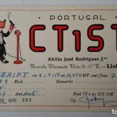 Radios antiguas: TARJETA RADIOAFICIONADO, CT-1-ST, LISBOA. AÑOS 50. Lote 174022710