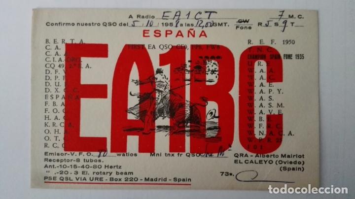 TARJETA RADIOAFICIONADO, ES-1-BC, EL CALEYO, OVIEDO. AÑOS 50 (Radios, Gramófonos, Grabadoras y Otros - Radioaficionados)