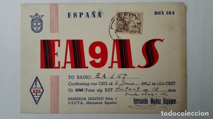 TARJETA RADIOAFICIONADO, ES-9-AS, CEUTA, MARRUECOS ESPAÑOL. AÑOS 50 (Radios, Gramófonos, Grabadoras y Otros - Radioaficionados)