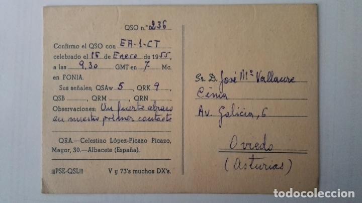 Radios antiguas: TARJETA RADIOAFICIONADO, ES-5-FH, ALBACETE. AÑOS 50 - Foto 2 - 174023073