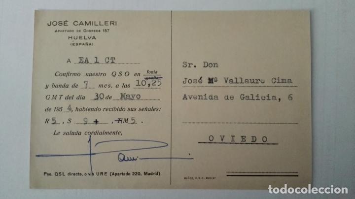 Radios antiguas: TARJETA RADIOAFICIONADO, EA-7-CQ, HUELVA. AÑOS 50 - Foto 2 - 174023212