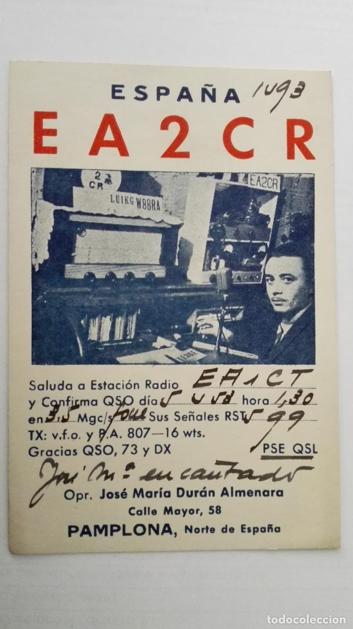 TARJETA RADIOAFICIONADO, EA-2-CR, PAMPLONA. AÑOS 50 (Radios, Gramófonos, Grabadoras y Otros - Radioaficionados)
