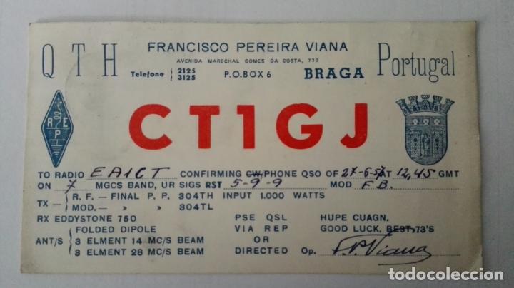 TARJETA RADIOAFICIONADO, CT-1-GJ, BRAGA, PORTUGAL. AÑOS 50 (Radios, Gramófonos, Grabadoras y Otros - Radioaficionados)