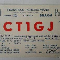 Radios antiguas: TARJETA RADIOAFICIONADO, CT-1-GJ, BRAGA, PORTUGAL. AÑOS 50. Lote 174023349