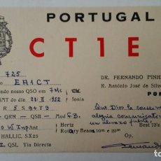 Radios antiguas: TARJETA RADIOAFICIONADO, CT-1-EE, PORTO. AÑOS 50. Lote 174023397