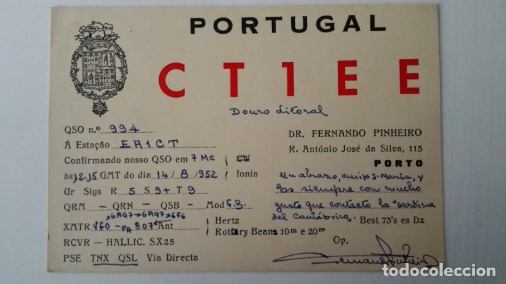TARJETA RADIOAFICIONADO, CT-1-EE, PORTO, PORTUGAL AÑOS 50 (Radios, Gramófonos, Grabadoras y Otros - Radioaficionados)